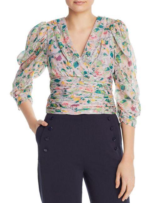 559a7e46ef168 AMUR - Purple Auriel Ruched Floral-silk Top - Lyst ...