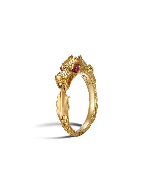 John Hardy | Metallic 18k Gold Naga Slim Ring With Ruby Eyes | Lyst