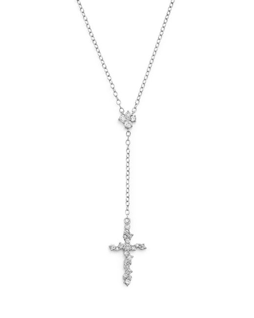 Bloomingdale's - Diamond Cross Y Necklace In 14k White Gold, .35 Ct. T.w. - Lyst