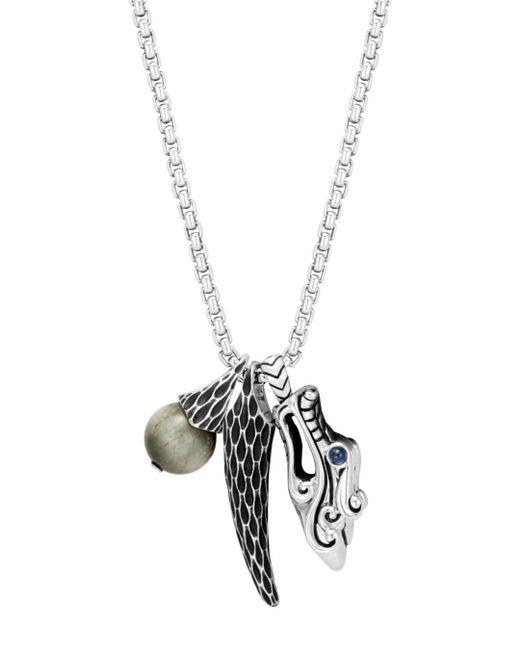 "John Hardy - Metallic Sterling Silver Legends Naga Eagle Eye & Dragon Charm Pendant Necklace With Sapphire Eyes, 26"" for Men - Lyst"