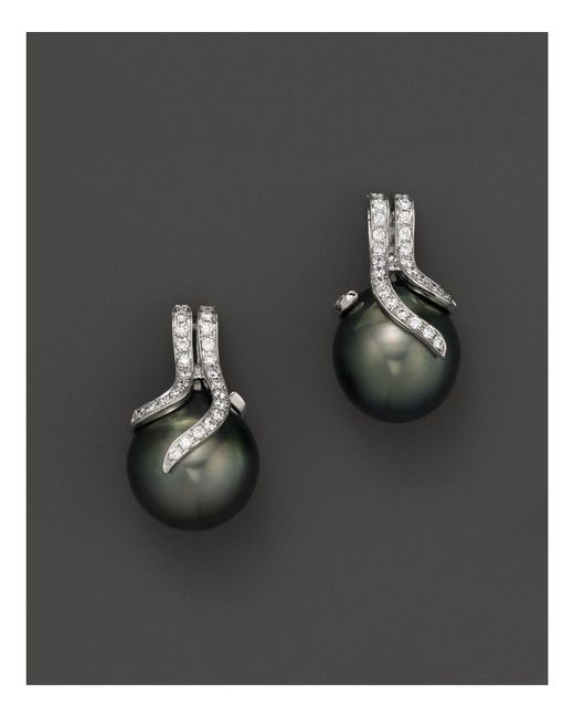 Tara Pearls | Black Diamond And Tahitian Cultured Pearl Drop Earrings | Lyst