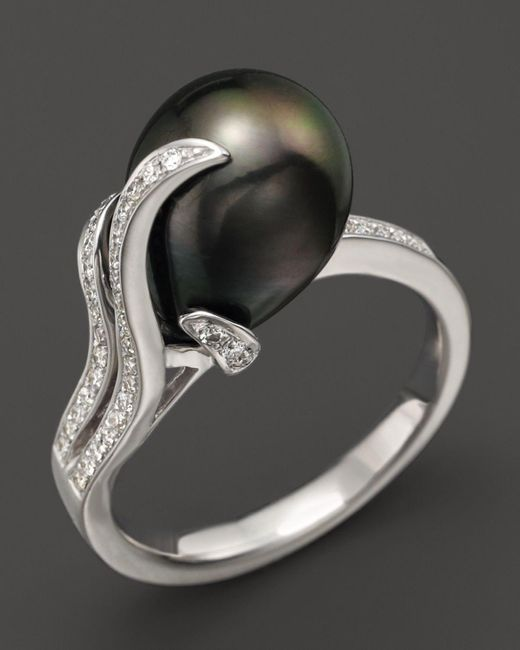 Tara Pearls | Black 14k White Gold, Diamond And Tahitian Cultured Pearl Ring, 10mm | Lyst
