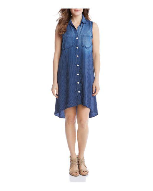 Karen Kane | Blue Chambray Stripe Shirt Dress | Lyst