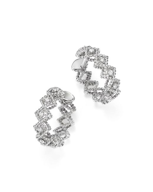 Roberto Coin | 18k White Gold Gold New Barocco Diamond Hoop Earrings | Lyst