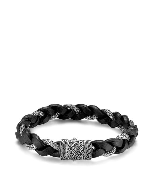 John Hardy - Black Men's Classic Chain Braided Leather Cord Bracelet for Men - Lyst
