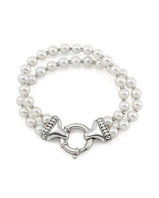 Lagos - Metallic Sterling Silver Luna 2 Strand Pearl Bracelet - Lyst