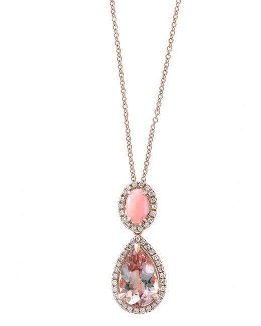 Bloomingdale's - Pink Coral & Diamond Teardrop Pendant Necklace In 14k Rose Gold - Lyst