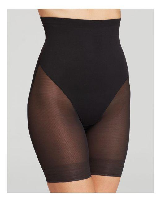 Tc Fine Intimates - Black Sheer High-waist Thigh Slimmer Shorts - Lyst