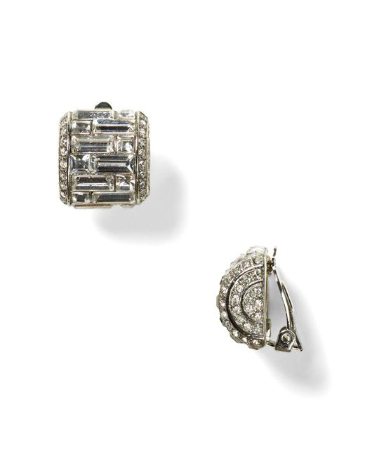 Carolee - Metallic Crystal Button Clip-on Earrings - Lyst