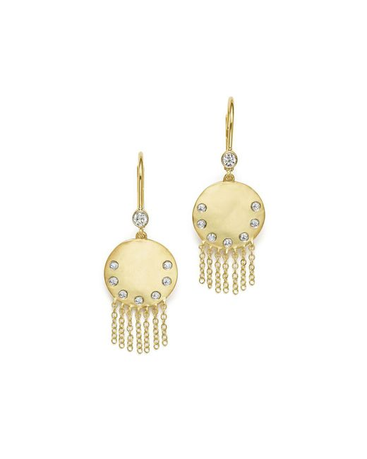 Meira T - Metallic 14k Yellow Gold Disc And Fringe Earrings With Diamonds - Lyst