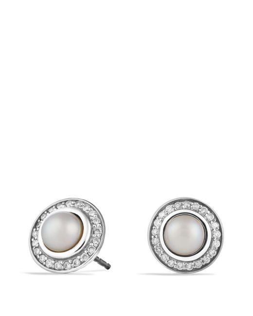 David Yurman - White Cerise Mini Earrings With Pearls And Diamonds - Lyst