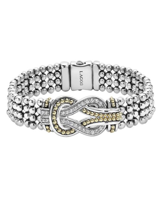 Lagos - Metallic Sterling Silver And 18k Gold Newport Diamond Caviar Bracelet - Lyst