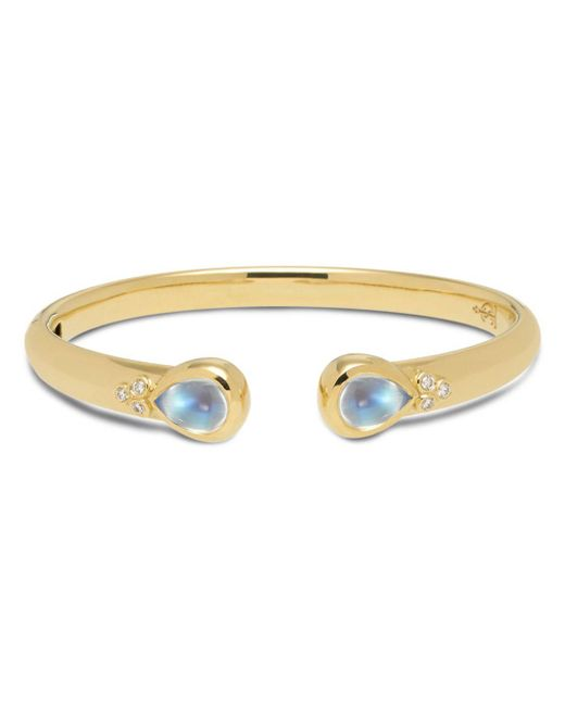 Temple St. Clair - Metallic 18k Yellow Gold Classic Hinge Bracelet With Royal Blue Moonstone And Diamonds - Lyst