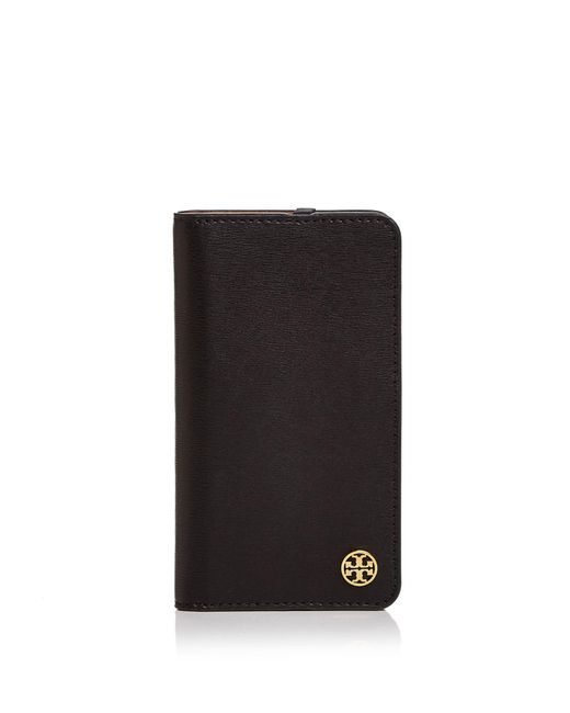 Tory Burch | Black Parker Leather Folio Iphone 7 Case | Lyst
