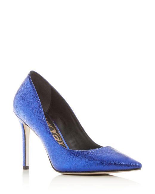3ff6f76f07ac3f Sam Edelman - Blue Women s Hazel Pointed-toe Pumps - Lyst ...