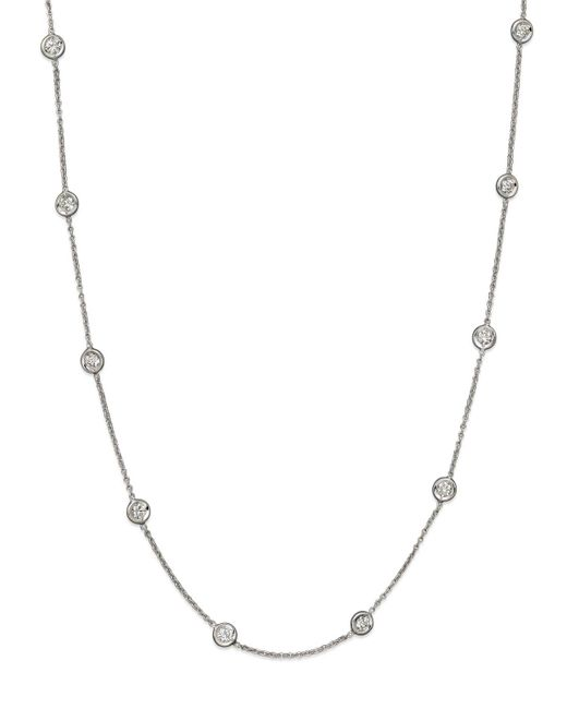Roberto Coin   18k White Gold Diamonds By The Inch Necklace   Lyst