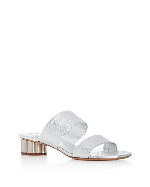Ferragamo - Multicolor Women's Leather Floral Heel Slide Sandals - Lyst