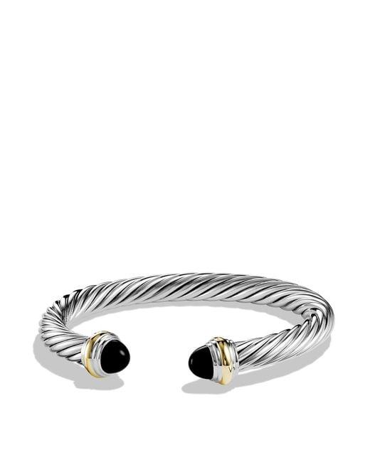 David Yurman | Metallic Cable Classics Bracelet With Black Onyx And Gold | Lyst