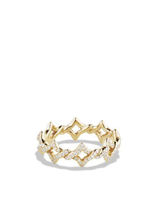 David Yurman | Metallic Quatrefoil Stacking Ring With Diamonds In Gold | Lyst
