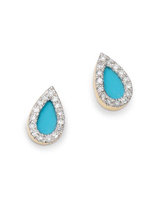 Adina Reyter - Multicolor 14k Yellow Gold Turquoise & Diamond Teardrop Stud Earrings - Lyst