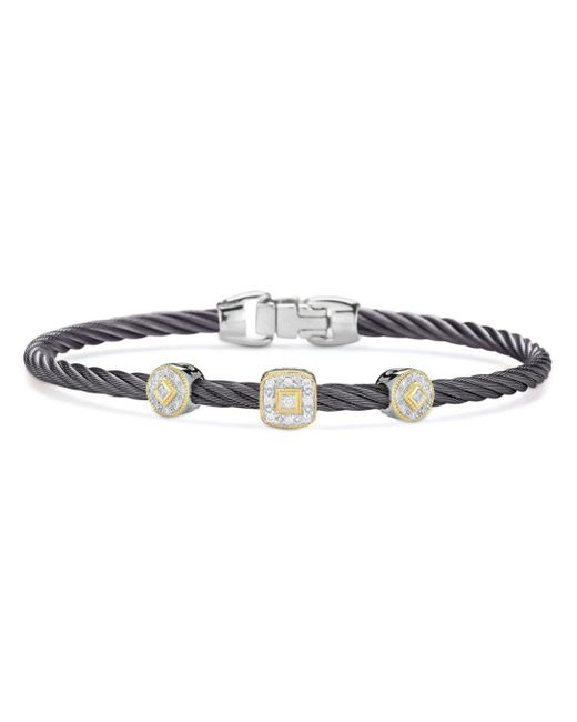 Alor - Metallic Gray Cable Bangle Bracelet With Diamonds - Lyst