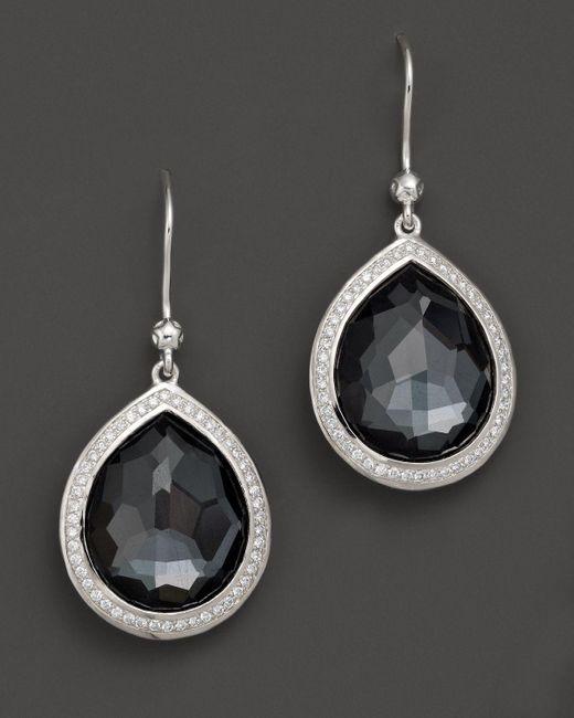 Ippolita | Multicolor Sterling Silver Stella Earrings In Hematite Doublet With Diamonds | Lyst