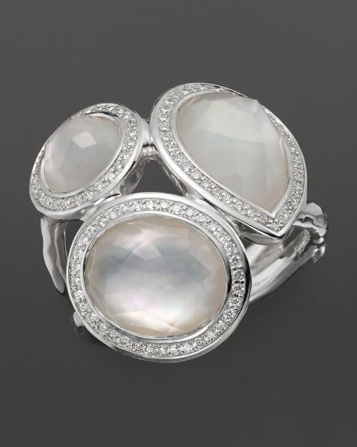 Ippolita | Metallic Sterling Silver Stella Ring In Mother-of-pearl Doublet With Diamonds | Lyst