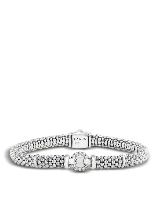 Lagos | Metallic Enso Sterling Silver Caviar Bracelet With Diamonds | Lyst