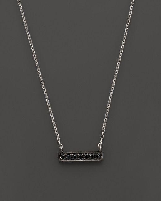 "Dana Rebecca | Black Diamond Sylvie Rose Mini Bar Necklace In 14k White Gold And Black Rhodium, 16"" | Lyst"