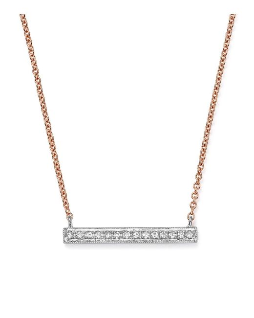 Dana Rebecca | 14k White & Rose Gold Sylvie Rose Medium Bar Necklace With Diamonds | Lyst