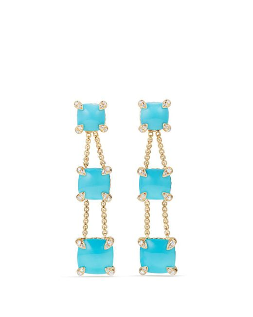 David Yurman - Blue Châtelaine Linear Chain Earrings With Turquoise & Diamonds In 18k Gold - Lyst