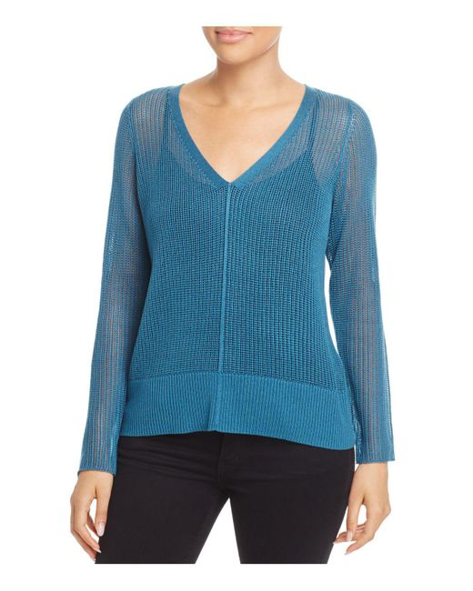 Eileen Fisher | Blue V-neck Sheer-knit Sweater | Lyst