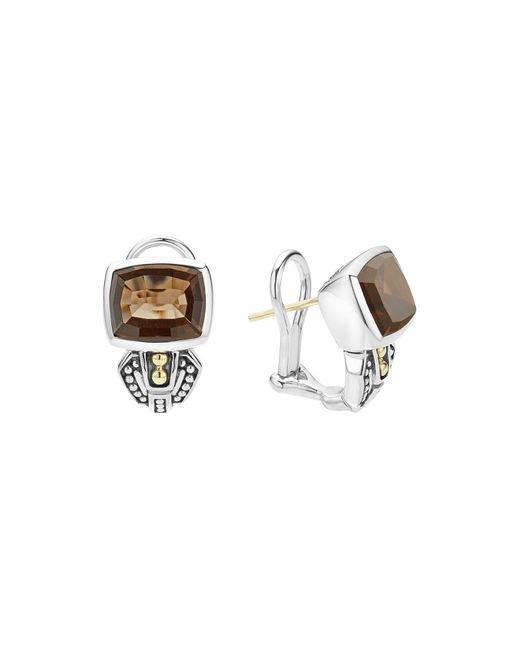 Lagos | Metallic 18k Gold And Sterling Silver Caviar Color Smoky Quartz Huggie Drop Earrings | Lyst