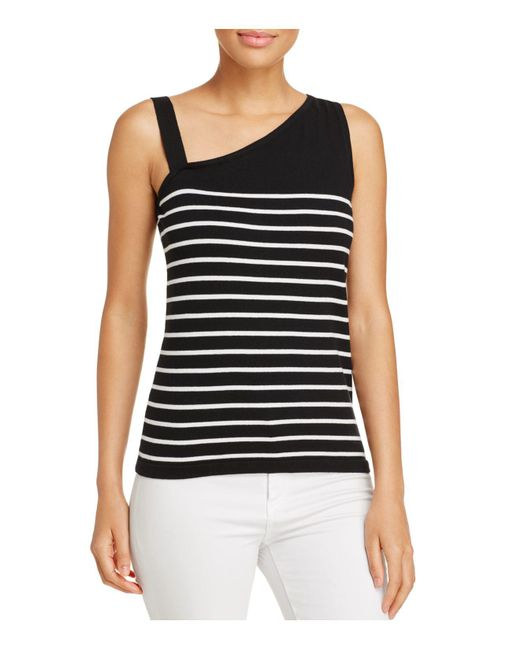 Avec | Black Striped One-shoulder Top | Lyst