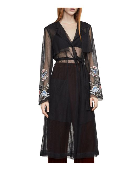 BCBGMAXAZRIA | Black Embroidered Tulle Trench Coat | Lyst