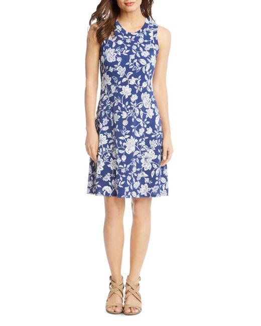 Karen Kane - Blue Woodblock Floral-print Dress - Lyst