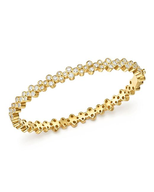 Temple St. Clair - Metallic 18k Yellow Gold Eternity Diamond Trio Bangle Bracelet - Lyst
