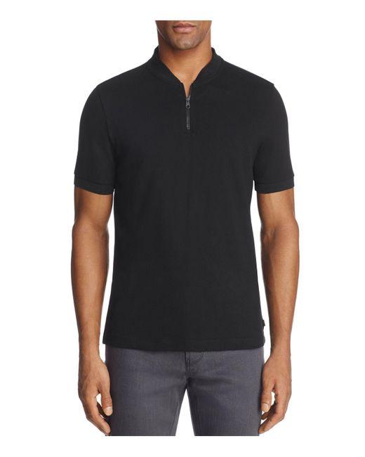 Armani   Black Half Zip Classic Fit Polo Shirt for Men   Lyst