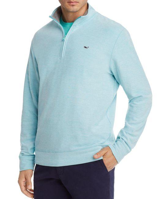 Vineyard Vines - Blue Reverse Oxford Pique Quarter-zip Pullover for Men - Lyst
