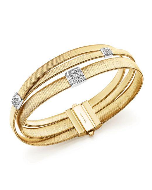 Marco Bicego - Metallic 18k Yellow Gold Masai Three Strand Crossover Diamond Bracelet - Lyst