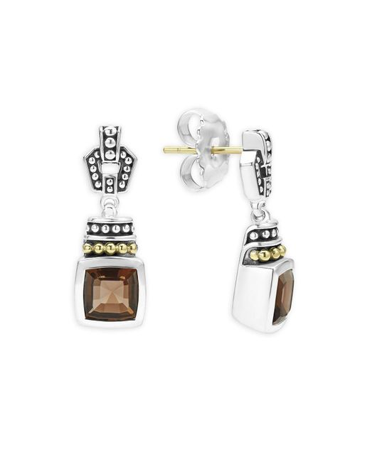 Lagos | Metallic 18k Gold And Sterling Silver Caviar Color Smoky Quartz Drop Earrings | Lyst