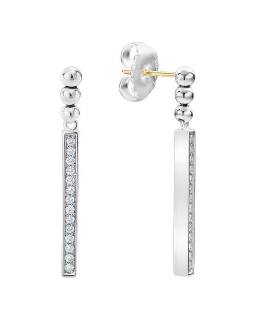 Lagos - Metallic Sterling Silver Caviar Spark Diamond Drop Earrings - Lyst