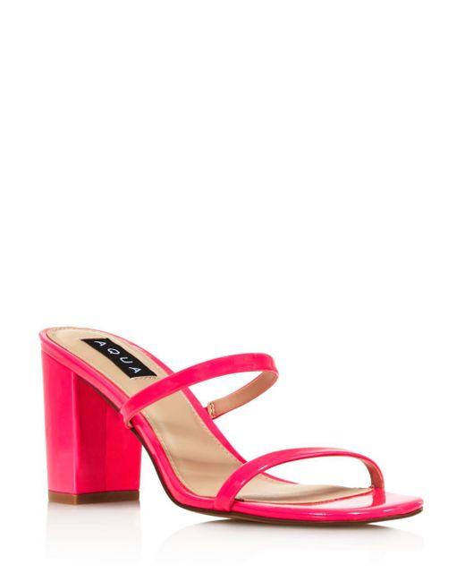 b785f30f93c Lyst - Aqua Women s Adele Open-toe Block High-heel Sandals in Pink