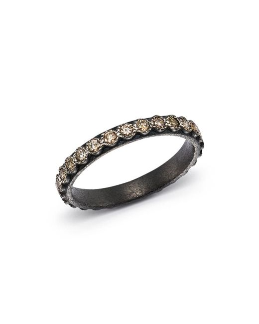 Armenta - Metallic Blackened Sterling Silver Old World Diamond Stacking Ring - Lyst
