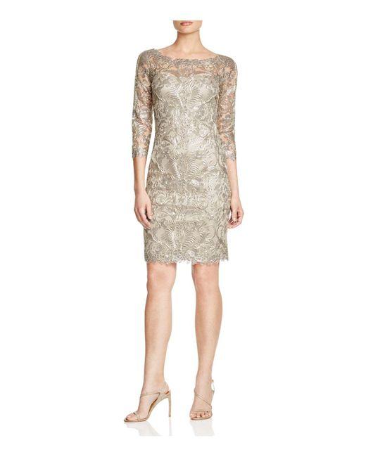 Tadashi Shoji | Metallic Three-quarter Sleeve Lace Dress | Lyst