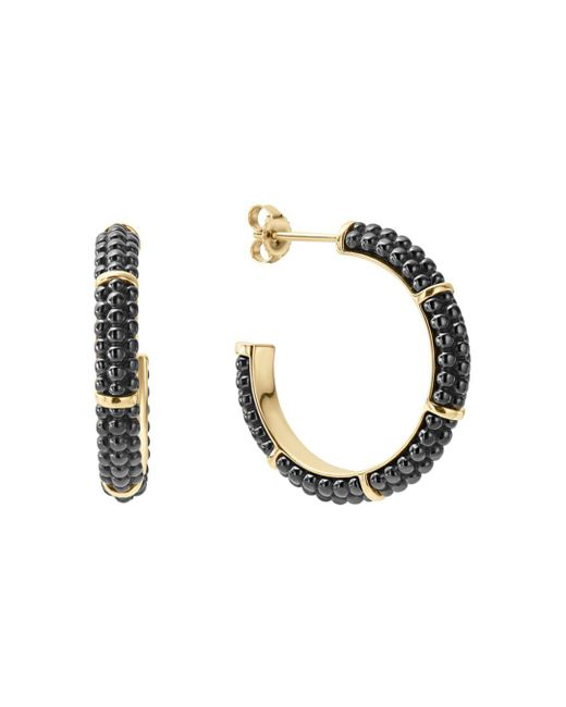 Lagos - Metallic Gold & Black Caviar Collection 18k Gold & Ceramic Hoop Earrings - Lyst