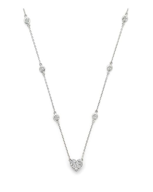 Bloomingdale's - Diamond Station Necklace With Heart Pendant In 14k White Gold, 1.25 Ct. T.w. - Lyst