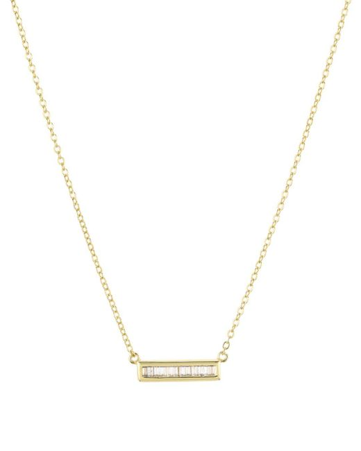 Aqua Metallic Bar Pendant Necklace In 18k Gold - Plated Sterling Silver