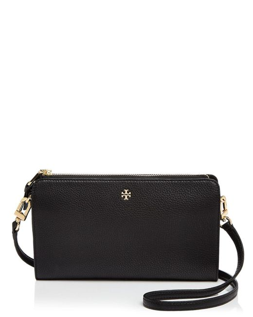 Tory Burch - Black Robinson Pebbled Leather Wallet Crossbody - Lyst