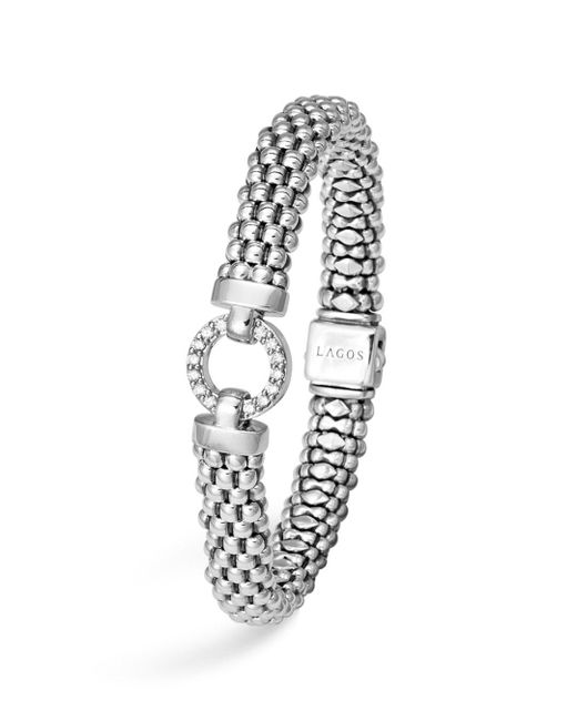 Lagos - Metallic Sterling Silver Enso Rope Bracelet With Diamonds - Lyst